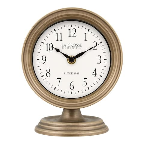 La Crosse Clock 404-3229A 7-Inch Mabel Metal Table Top Quartz Clock