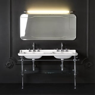 "WS Bath Collections Waldorf 4143K1+9195K1 Waldorf Ceramic White 59-1/10"" Console Double Basin Bathroom Sink with Overflow and"