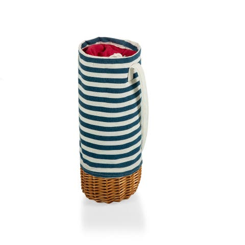 PICNIC TIME Malbec Insulated Canvas and Willow Wine Bottle Basket, (Navy Blue & White Stripe) - 5.25 x 5.25 x 13