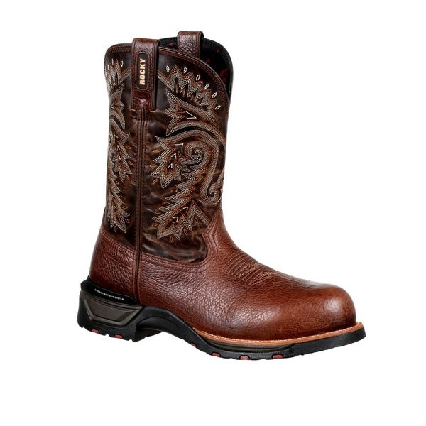 Rocky Western Boots Mens Technoram Leather Round Toe Brown