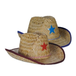 Club Pack of 96 Straw Cowboy Hats with Red and Blue Stars and Chin Strap - Child Size