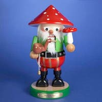 "12.5"" Vibrantly Colored Mushroom Man Christmas Nutcracker - green"