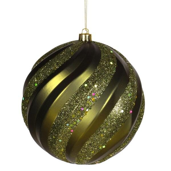 "Olive Green Glitter Swirl Shatterproof Christmas Ball Ornament 8"" (200mm)"