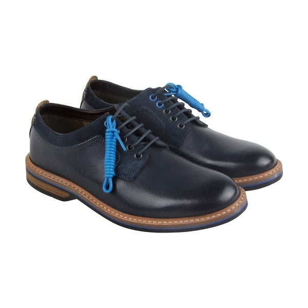 Clarks Pitney Walk Mens Blue Leather Casual Dress Lace Up Oxfords Shoes