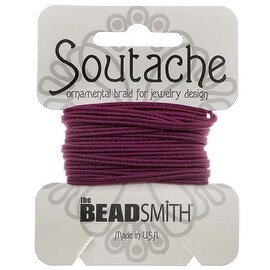 BeadSmith Soutache Braided Cord 3mm Wide - Magenta (3 Yards)