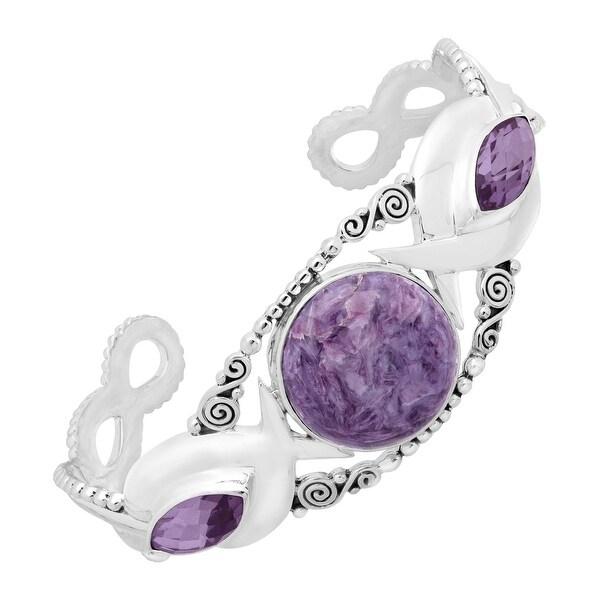 Sajen 27 ct Charoite & Lavender Quartz Cuff Bracelet in Sterling Silver - Purple