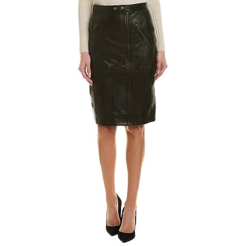 Nicole Miller Artelier Leather Moto Skirt