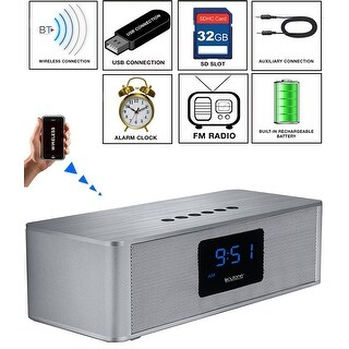 Boytone BT-88CB Bluetooth 4.1 Portable Alarm Clock Radio Wireless Speaker, Digital FM Tuning Built-in Rechargeable Battery, Mic,