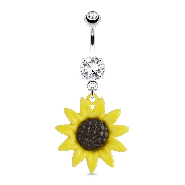 Metal Sunflower Dangle with CZ 316L Surgical Steel Navel Belly Button Ring