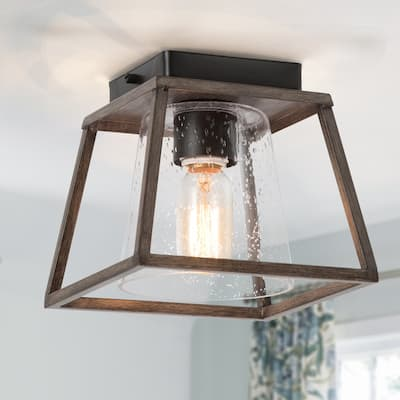 Modern Farmhouse 1-light Glass Flush Mount Lights Cage Fixtures for Dining Room - W7.9 x L7.9 x H7.3