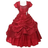 Chic Baby Red Layered Bolero Pageant Dress Set Toddler Girl 2T