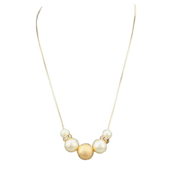 max & MO Gold Flake Pearl Rhinestone Slider Necklace - gold-pearl