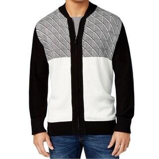Sean John NEW Black Mens Size 3XL Jacquard Full Zip Cardigan Sweater