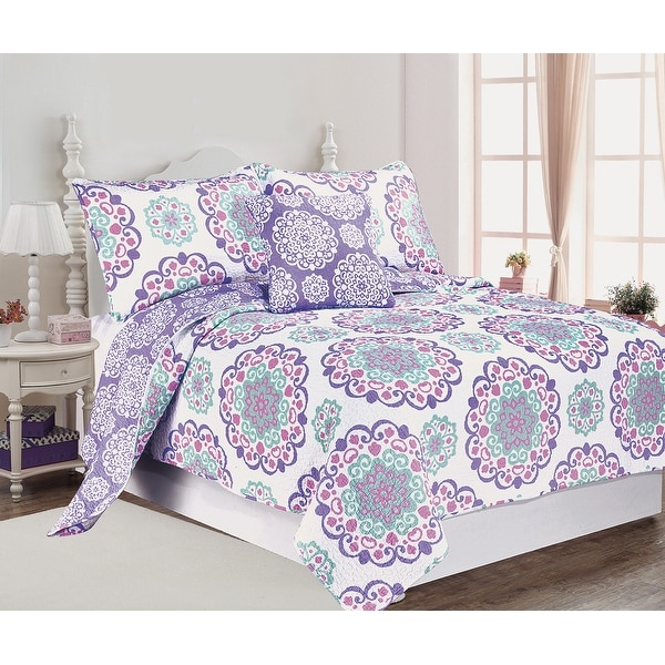 Design Studio Cozy Vivian Cotton Lilac Pink 4 PC Reversible Quilt Set. Opens flyout.