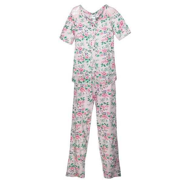 Sag Harbor Women's Cottage Rose Short Sleeve Pajama Set