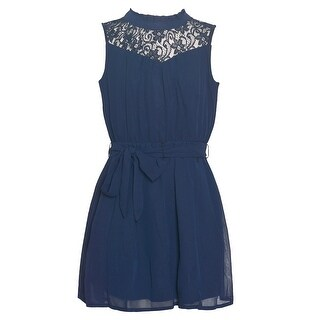 Girls Navy Floral Lace Panel Tie Accented Sleeveless Casual Dress
