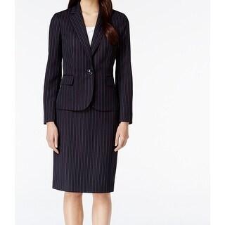Le Suit NEW Blue Navy Pinstriped Women's Size 4 Skirt Suit Set