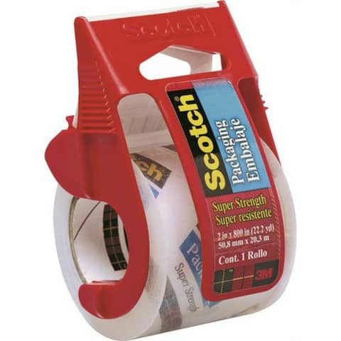 """Scotch 142 Heavy Duty Shipping Packaging Tape with Dispenser, 2"""" x 800"""", Clear"""
