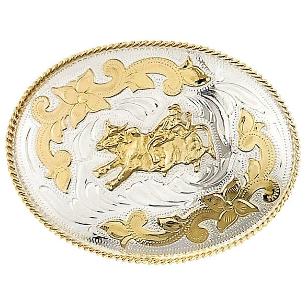 German Silver Tone Belt Buckle with Rodeo Bullrider Detail - One size