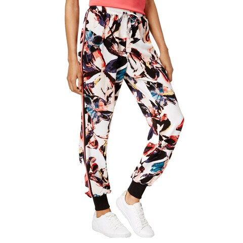 Bar III Printed Jogger Pants Washed White Combo