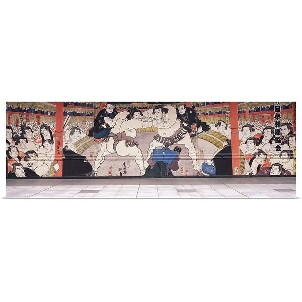 """""""Sumo wrestling mural on a wall, Ryogoku Kokugikan"""" Poster Print"""
