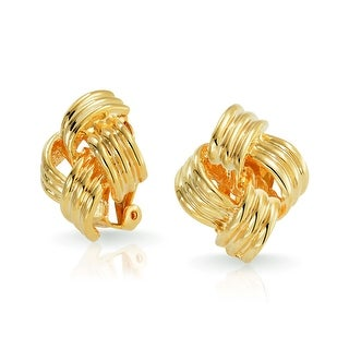 Bling Jewelry Gold Plated Brass Large Square Woven Love Knot Clip On Earrings