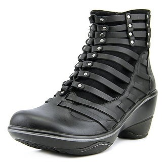 Jambu Candy Women  Round Toe Leather Black Ankle Boot