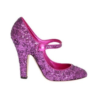 Dolce & Gabbana Dolce & Gabbana Purple Sequined Mary Janes Leather Shoes - eu41-us10-5
