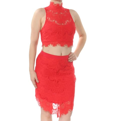 Free People Red Womens Size Small S Illusion Lace Overlay Skirt Set