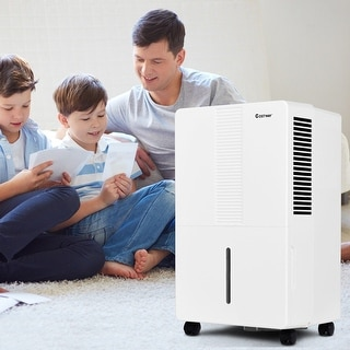 Costway Portable 70 Pint Dehumidifier Humidity Control Up to 4500 Sq.Ft. W/ Fan Wheels
