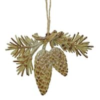 "5"" Brown and Cream Glittered Pine Cone and Leaf Christmas Ornament"