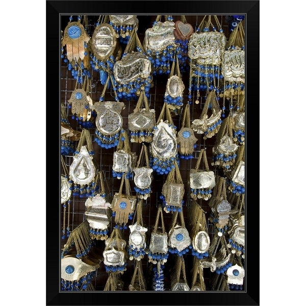 """Jewelry for sale at shop on Hashemi Street"" Black Framed Print"