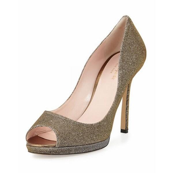 Kate Spade NEW Brown Bronze Fine Shoes Size 9.5M Open Toe Heels
