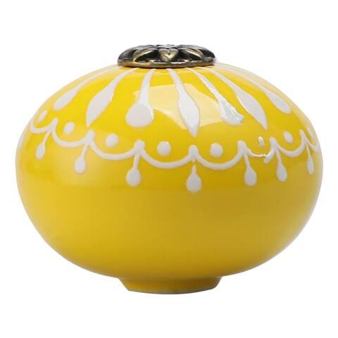 40mm Dia Ceramic Knobs Round Drawer Knob Pull Handle Cabinet Cupboard Wardrobe Dresser Decorative Replacement Yellow - 1pcs