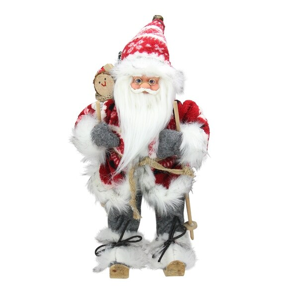 "13"" Alpine Chic Red and Gray Snowflake Skiing Santa with Gift Bag Decorative Christmas Figure"