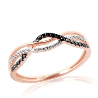 Twisted Half Eternity Anniversary Ring With Round Brilliant Cut Natural Black & White Diamond