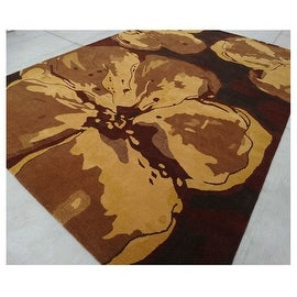 9.6x13.6 Feet Brown Black Beige Huge Over sized Floral Wool Carpet Rug Modern Contemporary