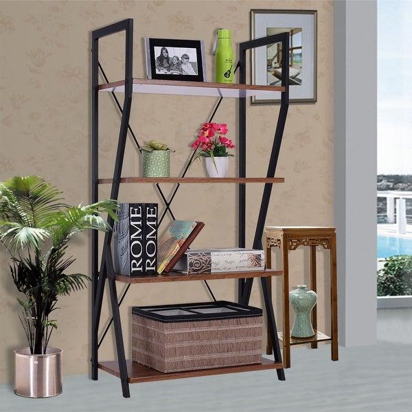 Costway 4 Tier Bookshelf Bookcase Storage Rack Display Shelves Metal Frame  Home Office