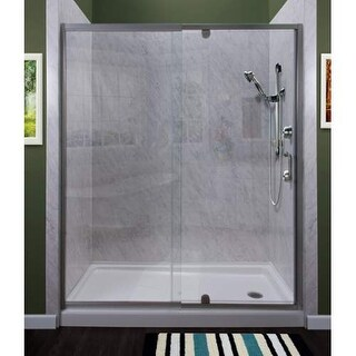 "Miseno MSDC4269 Purify 69"" High x 42"" Wide Semi-Framed Pivot Shower Door with Cl"