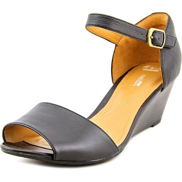 Clarks Narrative Brielle Drive Women Open Toe Leather Black Wedge Sandal