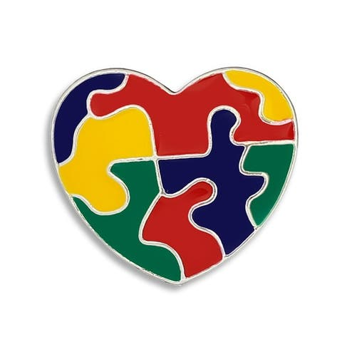 Autism Colored Puzzle Piece Heart Pin