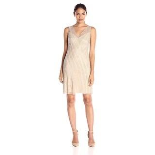 Adrianna Papell Beaded V-Neck Sleeveless Cocktail Evening Dress - 12