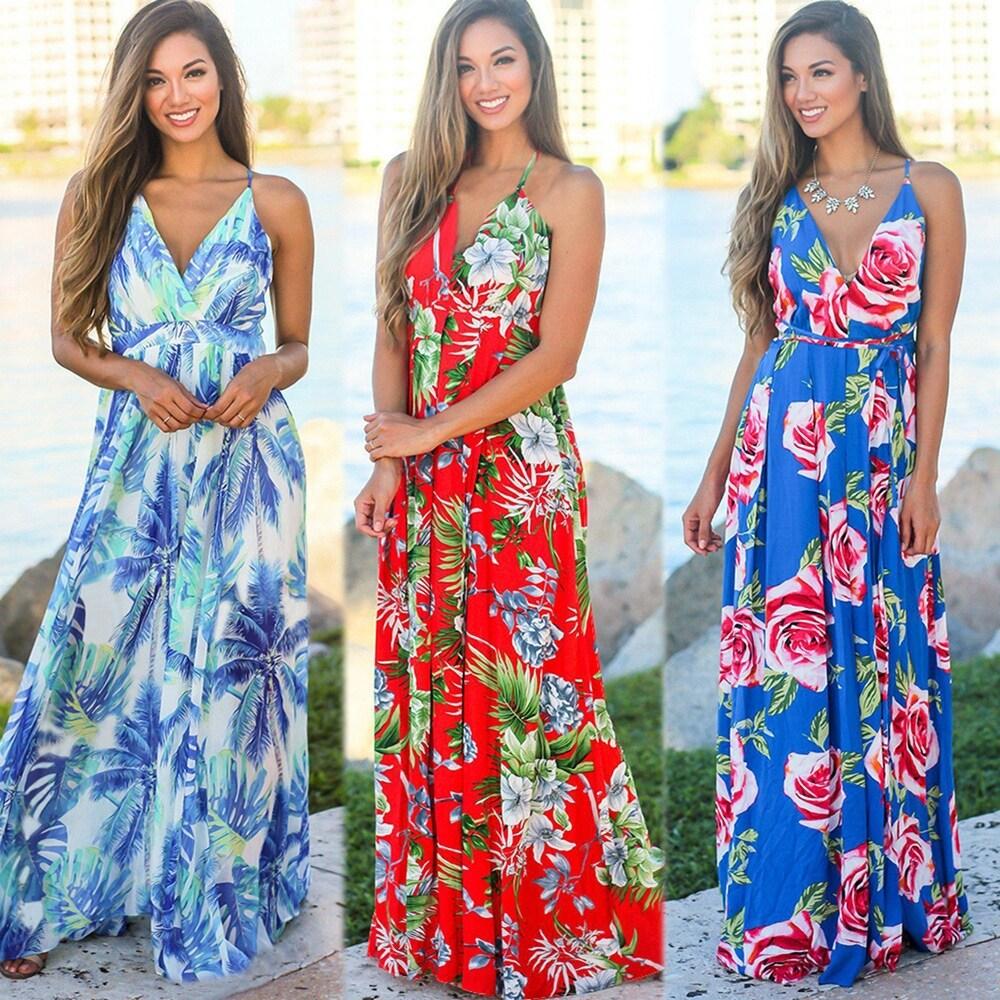 2019 New Womens Sling Printed Beach Dress