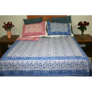 Handmade Reversible Duvet Cover Rajasthan Floral Design Full Queen Gorgeous Blue Pink