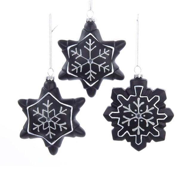 "4.5"" Chalkboard Paint Glitter Gem Snowflake Christmas Ornament for Personalization - black"