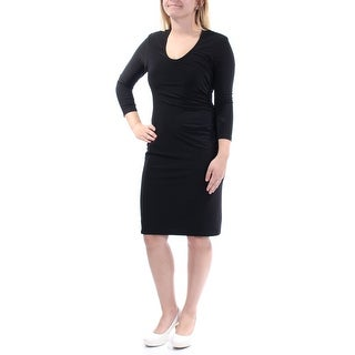Womens Black 3/4 Sleeve Above The Knee Body Con Evening Dress Size: 6