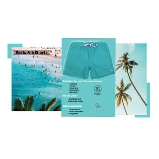 Porto Filo Men's Solid Board-short Beach Surf Shorts Casual Trunks Swimwear