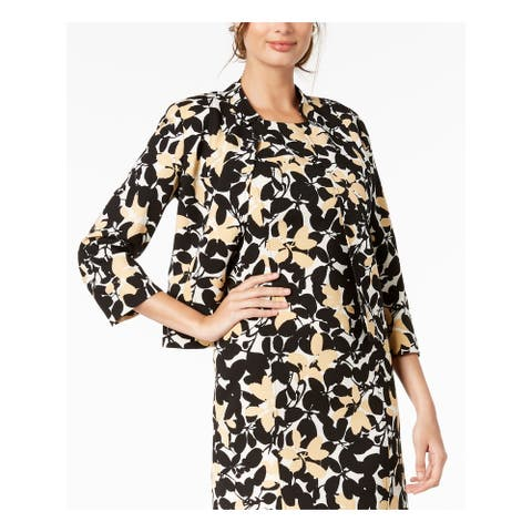 KASPER Womens Black Multi Floral Print Inverted Coll Jacket Size 4