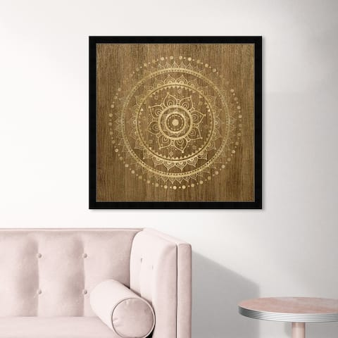 Oliver Gal 'Mandala Foil and Natural Wood' Abstract Framed Wall Art Prints Patterns - Brown, Gold