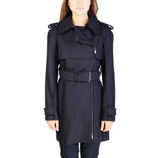 Miu Miu Women's Wool Nylon Blend Double Breasted Trench Coat Navy - 8